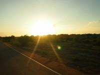 帰り道の美しい夕陽